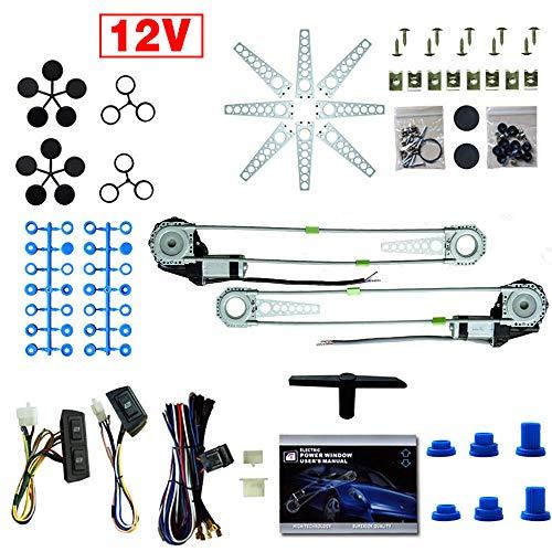 YIYIBY Universal Elektrische Fensterheber Kit 12 V Elektrische Fensterheber Umbausatz Mit Schalter für 2 Türer Auto Lkw SUV