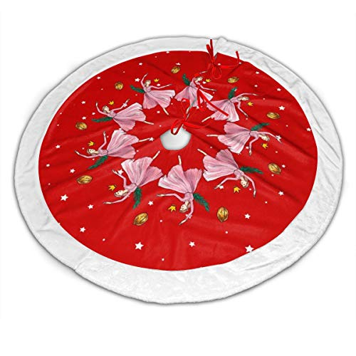 Nafanio Lightweight 30 Inches Christmas Tree Skirt Fairy Tale Pattern Tree Skirt Decorative Handicraft for Christmas Party Decorations Ornaments