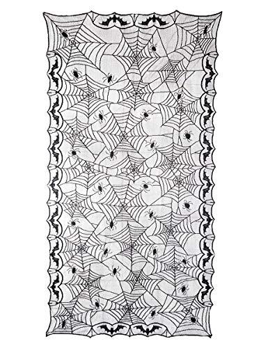 CoolChange XXL Mantel de decoración con telarañas de Halloween   arañas de Halloween   244x122cm   Negro