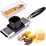 Ginger Grater Cheese Grater Lemon Zester with Storage Container, Premium Stainless Steel Multifunction Grater,Sharp for Nutmeg,Perfcet Kitchen Tool for Mini Garlic,Chocolate,Vegetables, Fruits
