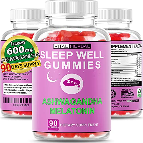 natural sleeps Natural Sleep Melatonin + Ashwagandha Gummies Maximum Potency With L-Theanine Passionflower Fall Asleep Faster Sleep Longer Calm Mood For Adults - 90 Day Supply (1 bottle)