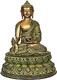 CraftVatika 17,0Pulgadas Grande Antiguo Buda latón Statue- Lotus Sentado Gran Medicina Escultura...