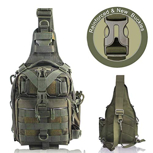 BLISSWILL Fishing Backpack Outdoor Tackle Bag Large Fishing Tackle Bag Water-resistant Fishing Backpack with Rod Holder Shoulder Backpack (Army Green)