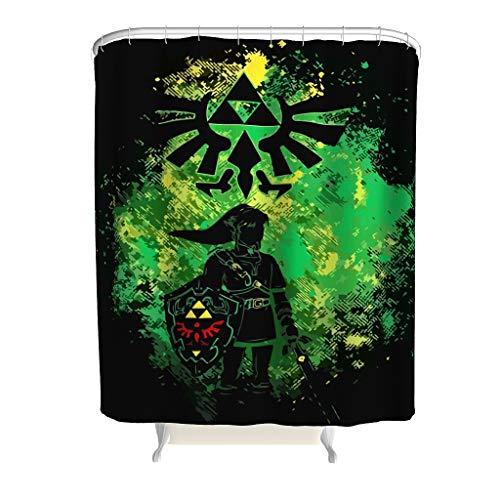 NiTIAN Zelda patroon douchegordijn hoogwaardige kwaliteit gordijn groen badkamergordijn met incl. douchegordijnringen