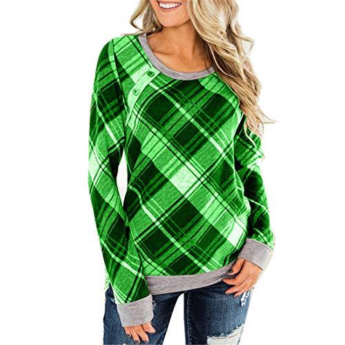 T-Shirt Damen Langarm Elegant Karierte Komfortabel Große Größe Lose Mode Shirt...