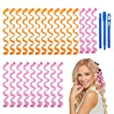 URAQT Lockenwickler Große Locken, 24 Stück Spiral Locken Wave Styling Kit, Haar Lockenwickler Hair Curler mit Styling Haken für alle Frisuren (50cm)