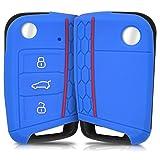 kwmobile Funda de Silicona Compatible con VW Golf 7 MK7 Llave de Coche de 3 Botones - Carcasa Suave de Silicona - Case Mando de Auto Azul