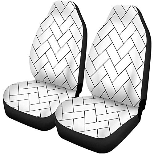 XZfly Autositzbezüge Muster Fischgrätenmuster Parkett Diagonale Weiß Holz Abstrakter Pfeil Schwarz 2er-Set Protektoren Auto Fit für Auto