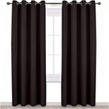 NICETOWN Bedroom Blackout Curtains and Drapes - Energy Smart Thermal Insulated Solid Grommet Blackout Draperies for Living Room (2 Panels, 52 inches x 84 inches, Toffee Brown)