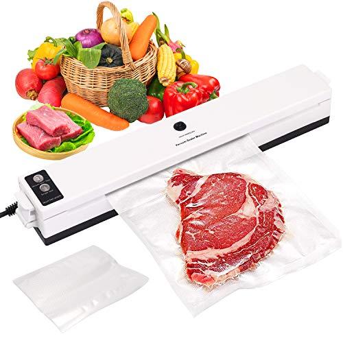 SKYECO 4-in-1-Vakuumierer für den Hausgebrauch und den professionellen Gebrauch mit 20 Vakuumbeuteln für Trocken- und Nassfutter, sehr gut geeignet für Fleisch, Fisch, Snacks, Obst und Gemüse