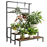 3-Layer Hanging Plant Stand, Indoor and Outdoor Steel-Wood Plant...