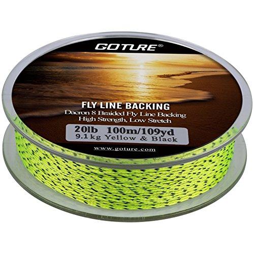 Goture 8 Dacron Stränge Geflochtene Backing Angelschnur Fliegenschnüre für Forellen Bass Pike 20LB / 30LB 109YARDS