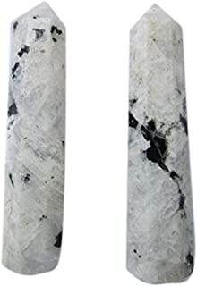WholesaleGemShop Jewelry-White Rainbow Moonstone Genuine Obelisk Tower Therapy Massage Paperweight Prism