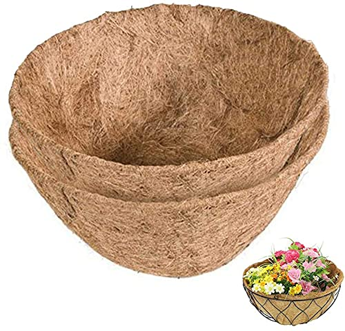 Forro para cestas Colgantes de Fibra de Coco, 4 Piezas, para cestas Colgantes en la Pared, Forro de Fibra de Coco Natural, Forro de Repuesto en Forma de Cesta, macetero de Medio círculo (14 Pulgadas)
