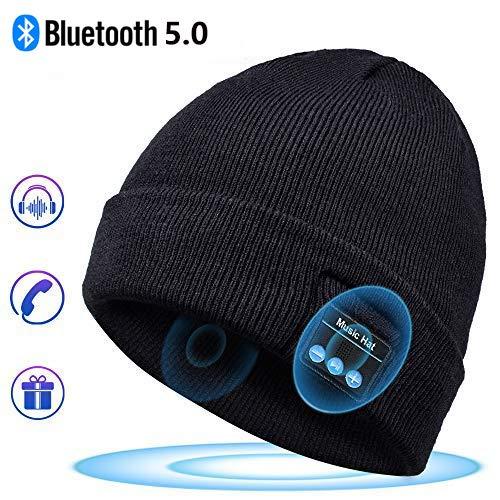 Regali per Donna e Uomo Cappello Bluetooth - Bluetooth 5.0 Cappello Bluetooth Uomo e Donna, Musicale Cappello Bluetooth Invernale, Regali Natale Uomo e Donna, Adatto per Sci, Ciclismo, Jogging (JC-2)
