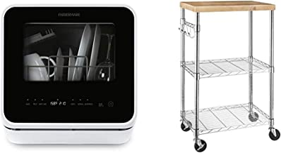 Farberware FDW05ASBWHA Complete Portable Countertop Dishwasher with 5-Liter Built-in Water Tank, 5 Programs & Fruit Wash-W...