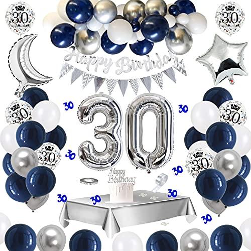 30 Geburtstag Dekoration Mann, APERIL Geburtstagsdeko Bedruckte Silber Konfetti Luftballons Number Folienballon Zahl 30 Luftballons Tischdecke Tischkonfetti Happy Birthday Girlande Torten Deko
