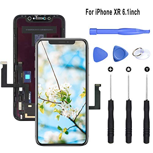 LITSPED Screen Replacement Compatible for iPhone XR,LCD Display 3D Touch Digitizer Frame Assembly, with Complete Repair Tools