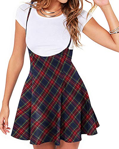 YOINS Rock Damen Mädchen Minirock Kawaii A Linie Mini Skater Rock Kleider für Damen Minikleid Skaterkleid Plaid-dunkelblau M