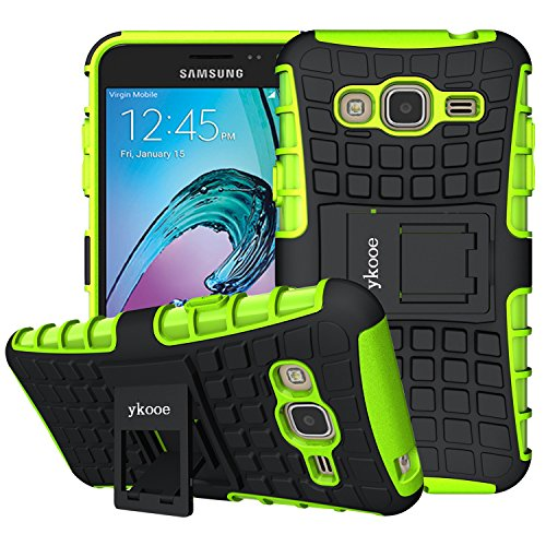 ykooe Cover for Samsung Galaxy J3 2016 Case, Galaxy Amp Prime Case, Samsung J3 2016 Silicone Phone Case Dual Layer Shockproof Protective Stand for Samsung Galaxy J3 2016 / Amp Prime / J3 V