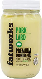 Fatworks, Organic Pork Lard, NON-GMO, USDA 100% organic ingredients, pasture raised pork, everyday cooking and frying, 14 oz