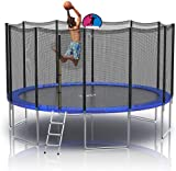 YAKEY Trampoline 10FT 12FT 14FT 15FT Recreational Trampolines with Enclosure, ASTM Approved Combo Bounce Outdoor Waterproof Trampoline with Ladder & Net for Kids Family Happy Time
