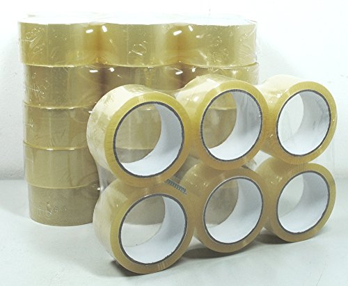 36 rollos de cinta adhesiva para paquete, 66 m, transparente