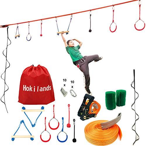 Hokilands Ninja Warrior Obstacle Course for Kids - 50' Ninja Slack line Kit with 8 Obstacles Include Climbing Ladder, Ninja Warrior Training Equipment with Slack Line for Backyard Outdoor Indoor