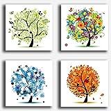 Quadri Moderni 4 pezzi Albero della vita 4 stagioni Klimt Style...