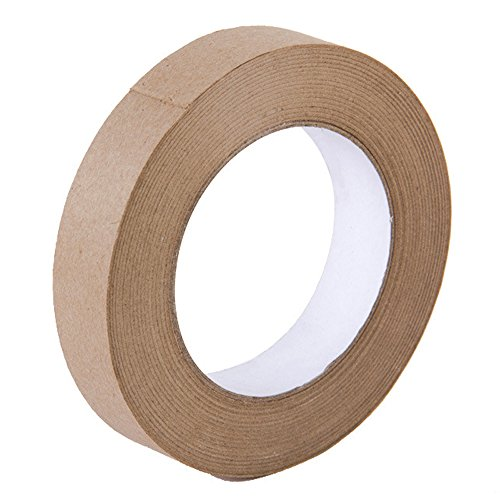 Looneng Water Activated Gummed Kraft Paper Tape - 24mm Width x 54.7 yd Length - Stretching Paper, Tamper Evident