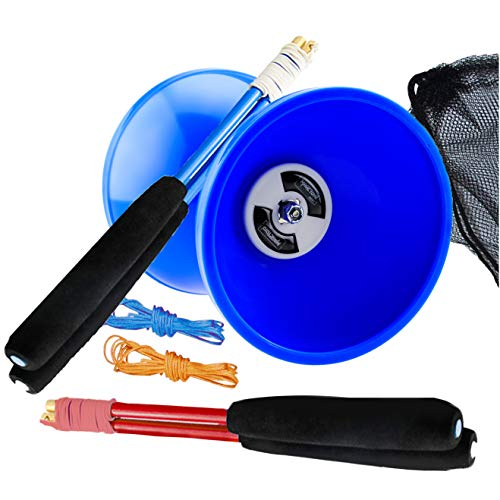 "MAGICYOYO Pro Triple Bearing Medium 5"" Blue Chinese Yoyo Diabolo Toy with 2 Pair Carbon Sticks+ 2 Extra Strings +1 Net Bag, High Performance Chinese Yoyo Diabolo Skill Toy"