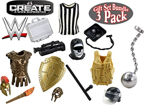 Mattel WWE Create A Superstar Referee, Crime Fighter & Knight Wrestling Accessories Gift Set Bundle - 3 Pack