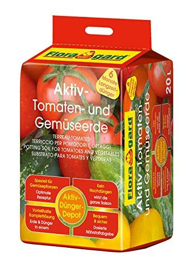 Floragard Aktiv-Tomaten-und Gemüseerde 20 Liter Blumenerde, erdfarben