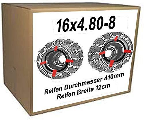 16x4.80-8 Schneeketten + Spanner für Reifen D=ca. 41cm Breite ca.12cm Schneefräsen Rasentraktor Aufsitzmäher