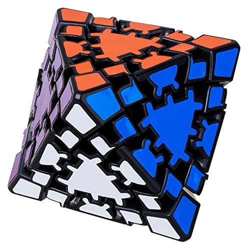 Khosd Gear Cube 3D Gear Cubo Shift Velocidad Puzzle Cubo Magic, Clásico Cubo De Engranajes La Velocidad Pegatina Cubo Mágico Irregulares (Negro), Octaedro