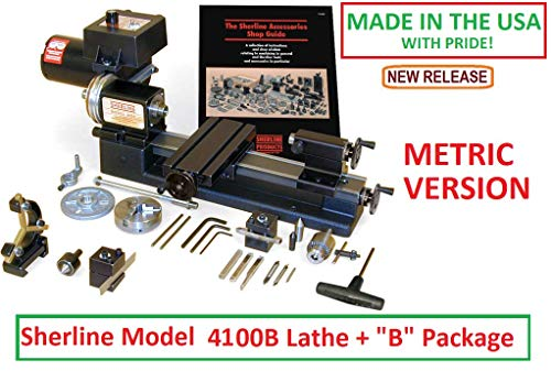 Lowest Price! Sherline 4100B Metric Version 8 Lathe + The B Package. (CNC Upgrade not Included but ...