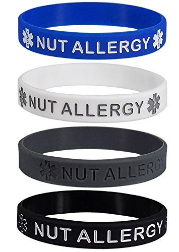 Max Petals Silikon-Armbänder für Erwachsene mit Nussallergie, blau, grau, weiß und schwarz, 4 Stück.