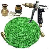 XIANGHUi Flexibler Gartenschlauch,Wasserschlauch Flexschlauch Bewässerung Dehnbar bis 7.5-45 Meter, Wasserschlauch flexibel Gartenteichschlauch dehnbar,Metalldüse-45 Meter grün