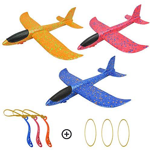 Diealles Shine Fliegende Gleiter, 3 Stück 35cm Styroporflieger Flugzeug, Flugzeug Spielzeug Outdoor für Kinder