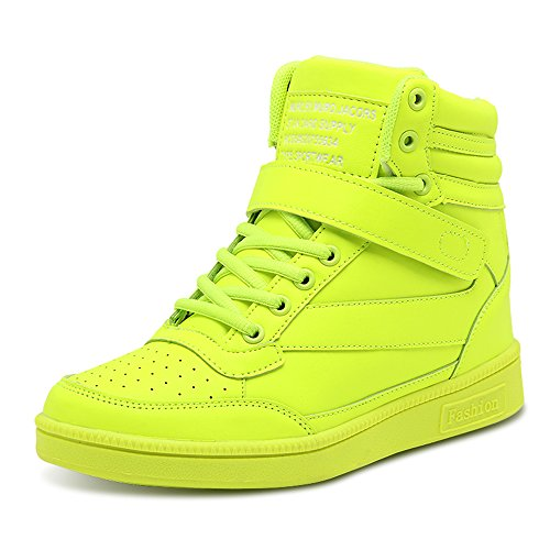BAINASIQI BAINASIQI Damen Sneakers High Top Sportschuhe Wedges Keilabsatz Schuhe Laufschuhe Atmungsaktive Freizeitschuhe Turnschuhe (EU 38, Grün-01)