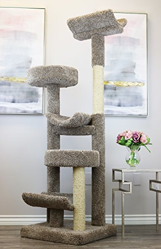 Prestige Cat Trees 130098-Neutral Staggered Cat Tower Cat Tree, Large