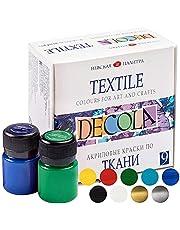 Decola Set Colori per Tessuti | 12x20ml Tempere per Tessuti Resistenti Ai Lavaggi in Lavatrice | Prodotti in Russia da Neva Palette