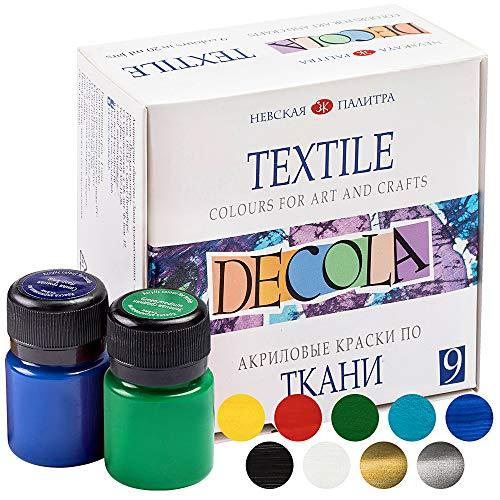 Decola Set Pintura Textil Acrilica | 9x20ml Colores Por Ropa Resistentes En Lavadora | Hechos En Rusia da Neva Palette