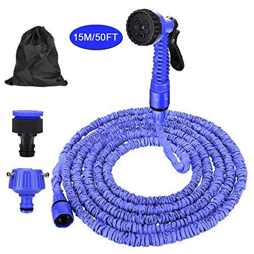 Venga amigos Flexibler Gartenschlauch Wasserschlauch Ausziehbarer Hochdruck-Teleskopschlauch mit Brause Universalgelenk und wasserdichter Tasche