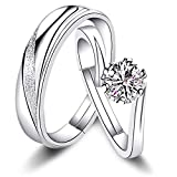 Sunamy Endless Love Matching Couple Rings for Him and Her Set, Adjustable 925...