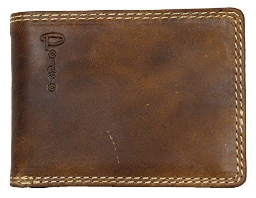 Herren Braun Taschenformat Natur-Glattleder Geldbörse Pedro Querformat