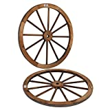 VINGLI 30' Decorative Wooden Wheel (Set of 2), Vintage Old Western Style Wall Hanging Wagon for Bar, Garage, Patio, Carbonized Solid Fir Wood