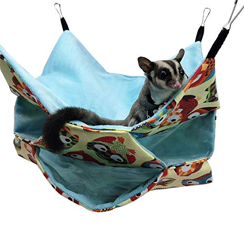 LeerKing Hamster 3 Layer Hammock Small Animal Hanging Bed Summer Thin Soft Hammock Tunnel for Ferret Chinchillas Totoro Guinea Pig Play Rest, 11.5 * 11.5 Inch, Owl