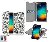 Funda Carcasa Xiaomi Mi4C Plenty of Money - Argent Collection Pattern de almacenamiento innovadoras con tarjeta de la puerta interna - Estuche protector de Xiaomi Mi4C con fijación adhesiva reposicionable 3M