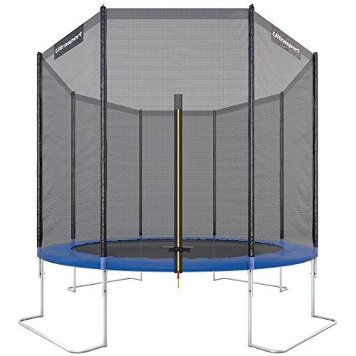Ultrasport Outdoor Gartentrampolin Jumper,TÜV Nord GS Zertifizierung, Trampolin Komplettset inklusive Sprungmatte, Sicherheitsnetz, gepolsterten Netzpfosten und Randabdeckung, wetterbeständig